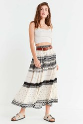 Urban Outfitters Uo Arabella Textured Maxi Skirt Neutral Multi