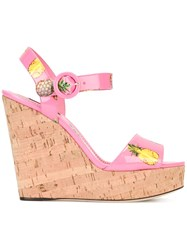 Dolce And Gabbana Pineapple Print Wedge Sandals Pink Purple