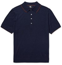 Paul Smith Ps By Contrast Tipped Knitted Merino Wool Polo Shirt Midnight Blue