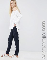 Asos Tall High Waist Slim Fit Trousers Navy