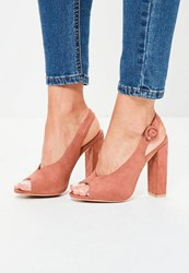 Missguided Pink Faux Suede High Peep Toe Block Heel Sandals