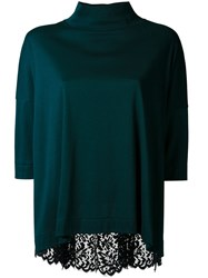 Muveil Lace Back Blouse Green
