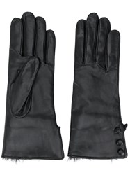 N.Peal Button Detail Gloves Black