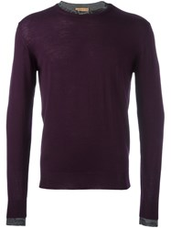 Etro Contrast Collar Pullover Pink And Purple