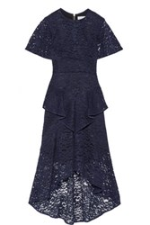Rebecca Vallance Tiered Corded Lace Midi Dress Navy