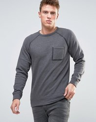 Esprit Sweatshirt With Taped Raglan Sleeve And Pocket Grey