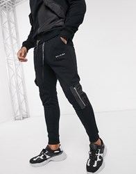 Religion Joggers With Utility Contrast Pockets In Black