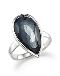Ippolita Sterling Silver Rock Candy Large Pear Shaped Ring In Hematite