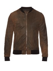 Dolce And Gabbana Suede Bomber Jacket Brown