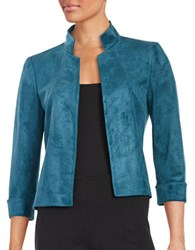 Tahari By Arthur S. Levine Faux Suede Jacket Teal