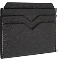 Valextra Pebbled Leather Cardholder Gray