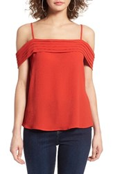 Women's Bp. Pleated Cold Shoulder Top Red Fiery