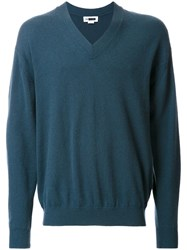 H Beauty And Youth. Ribbed V Neck Pullover Jumper Green