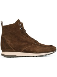 Santoni Lace Up Square Toe Boots Brown
