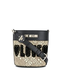 Love Moschino Embroidered Bucket Bag Black