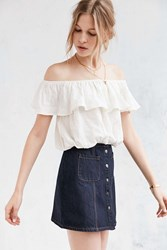 Kimchi And Blue Kimchi Blue Ruffle Off The Shoulder Cropped Top White