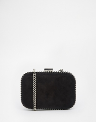 Miss Kg Hanna Oval Boxed Clutch With Striped Edge Black