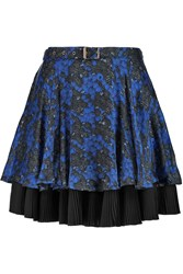 Just Cavalli Layered Silk Chiffon Mini Skirt Blue