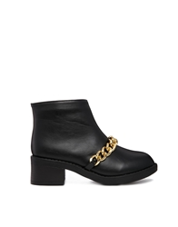 Truffle Collection Truffle Chain Detail Ankle Boots Black