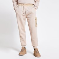 River Island Mcmlx Stone Nylon Blocked Slim Fit Joggers Beige