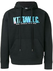 Ktz Mountain Letter Embroidered Hoodie Black