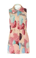 Anna Sui Balloon Satin Romper Pink Blue Yellow
