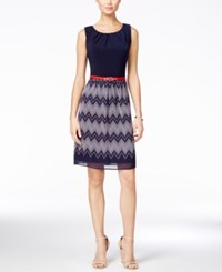Connected Sleeveless Belted Chevron Striped Dress Navy