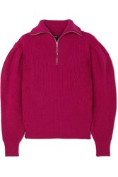 Isabel Marant Kuma Pointelle Trimmed Ribbed Wool Sweater Magenta