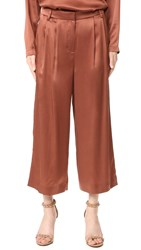 Tibi Cropped Pleat Pants Burnt Umber