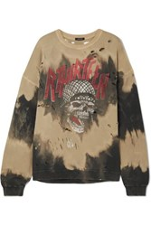 R 13 R13 Oversized Distressed Embellished Tie Dyed Cotton Blend Terry Sweatshirt Black