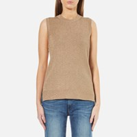 Michael Michael Kors Women's Metallic Sleeveless Jumper Dark Camel Gold