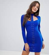 Ginger Fizz Lace Up Mini Bodycon Dress Blue