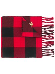 Gucci Checked Scarf Cashmere Wool Red