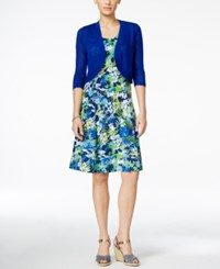 Ny Collection Petite Floral Print Dress And Pointelle Cardigan Turq Mixoasis