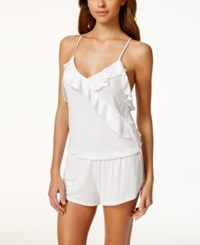 Betsey Johnson Ruffle Trim Knit Romper 7301103 White Betty Blue Dot