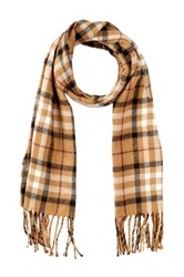 Amicale Double Face Plaid Scarf Beige