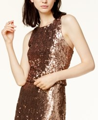 Bar Iii Sequined Cropped Top Created For Macy's Copper