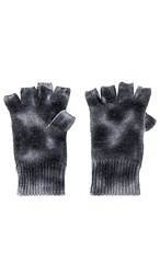 Jocelyn Tie Dye Cashmere Mittens In Black. Black And White