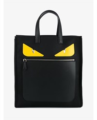 Fendi Monster Eye Leather Shopper Black Yellow Denim