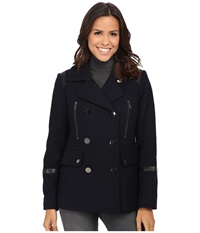 Michael Michael Kors Wool Peacoat W Faux Leather Navy Women's Coat
