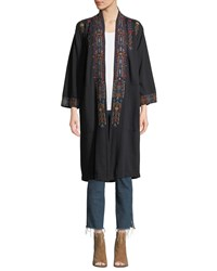 Johnny Was Plus Size Cleo Embroidered Long Coat Black