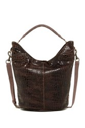 Liebeskind Vanessa Croc Embossed Shoulder Bag Brown