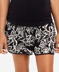 Motherhood Maternity Printed Shorts Black White Print
