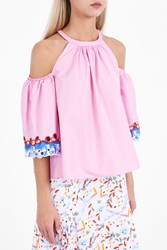 Peter Pilotto Women S Cotton Embroidered Top Boutique1 Pink