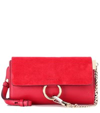 Chloe Faye Mini Leather And Suede Wallet Bag Red