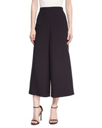 Andrew Gn Wide Leg Cropped Crepe Pants Black