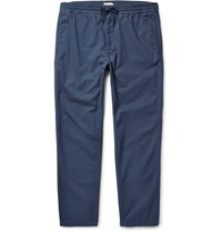 Club Monaco Cropped Cotton Twill Trousers Blue