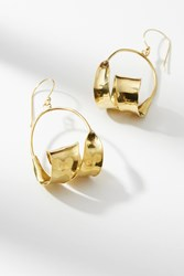 Anthropologie Spiral Hoop Earrings Gold