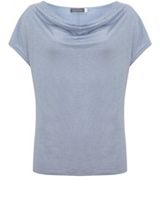 Mint Velvet Cloud Shimmer Cowl Neck Tee Light Blue