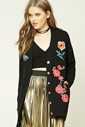Forever 21 Embroidered Boyfriend Cardigan Black